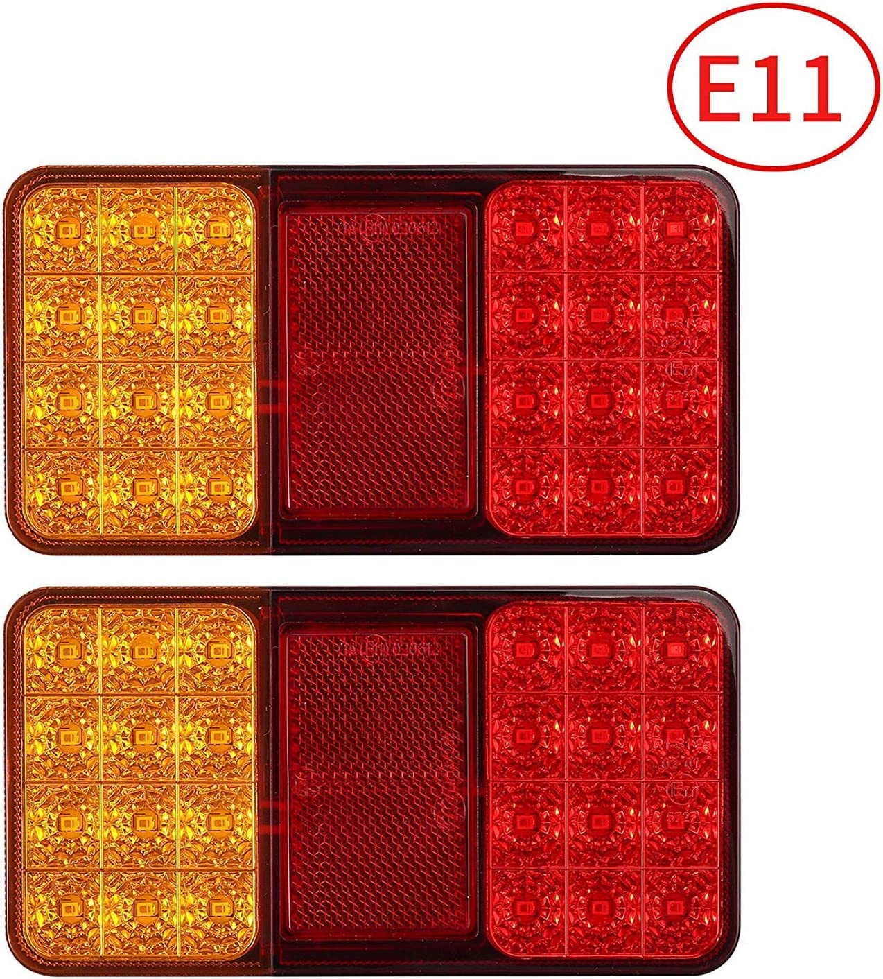 2x 12V 24V 24LED Rear Tail Stop Light Indicator Lights Trailer Caravan Van Truck