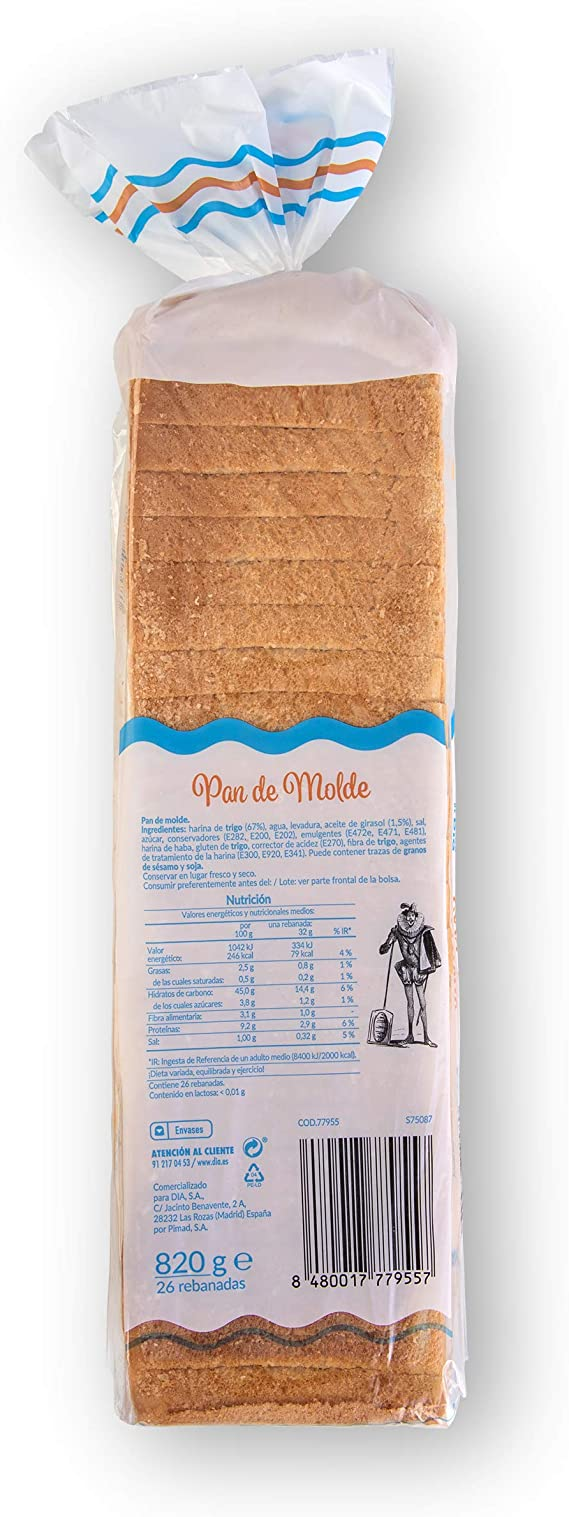 DIA - Pan De Molde Formato Familiar Bolsa 820Gr: Amazon.es: Alimentación y bebidas