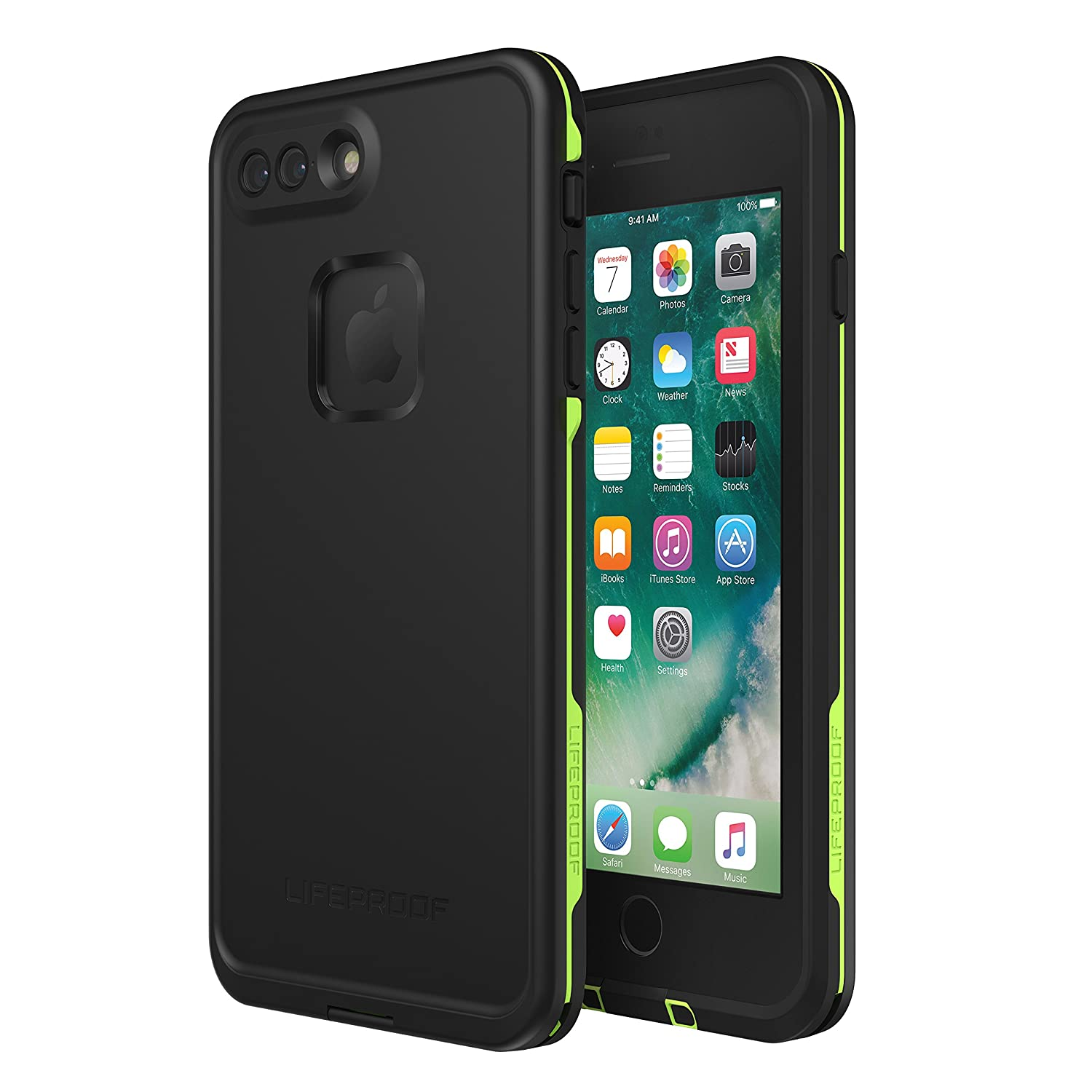 Amazon com lifeproof frē series waterproof case for iphone 8 plus 7 plus only retail packaging night lite black lime cell phones accessories