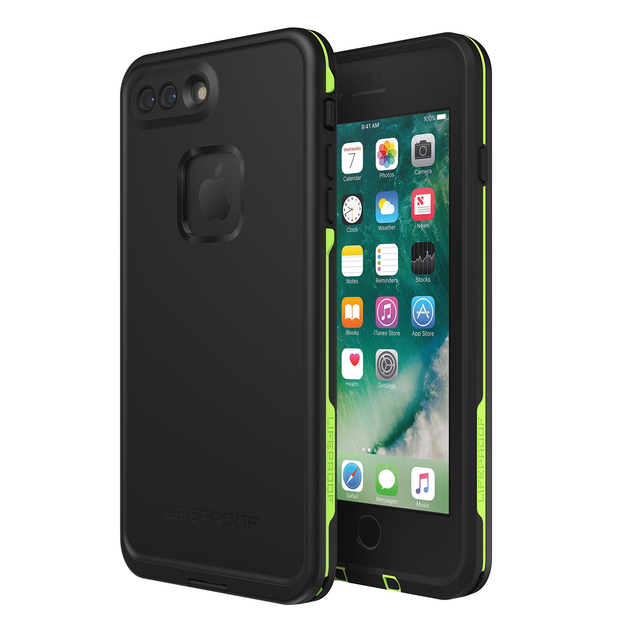 Lifeproof FRĒ SERIES Waterproof Case for iPhone 8 Plus & 7 Plus (ONLY) - Retail Packaging - NIGHT LITE (BLACK/LIME) by LifeProof