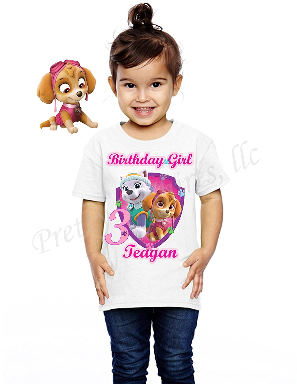 FREE SHIPPING, Girl Paw Patrol Birthday Shirt, Add ANY name & ANY age, Skye & Everest Birthday Shirt, Birthday Shirt Party Favor, Skye, Everest, Paw Patrol Birthday Shirts Girl, VISIT OUR SHOP!!