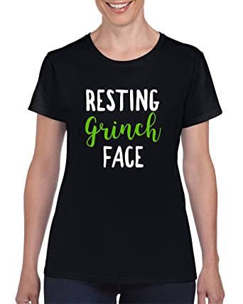 0f6d3e598ed7f Resting Grinch Face Ladies Womens Semi Fitted Novelty Funny Christmas Xmas T -Shirt Costume Party