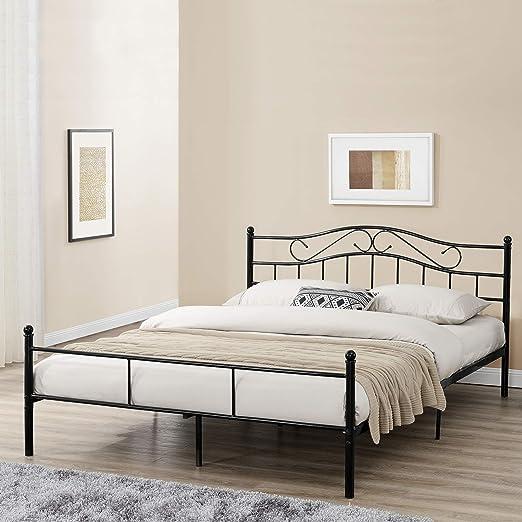 [en.casa] Cama de Metal Doble (Florencia)(140 x 200cm)(Negro) con cabecero Curvado/Recubrimiento en Polvo/somier Incluido