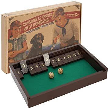 aGreatLife® Juego de Mesa con Dados Shut The Box - Caja Vintage de Madera para 4 Jugadores - Divertido para Aprender el Cálculo Mental y Las ...