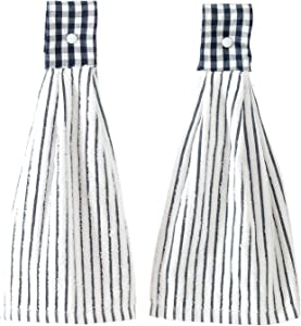 2 Pcs Hanging Kitchen Hand Towels with Loop, Home Bath Absorbent Towel Decorative for Bathroom, Laundry Room, Navy Stripes