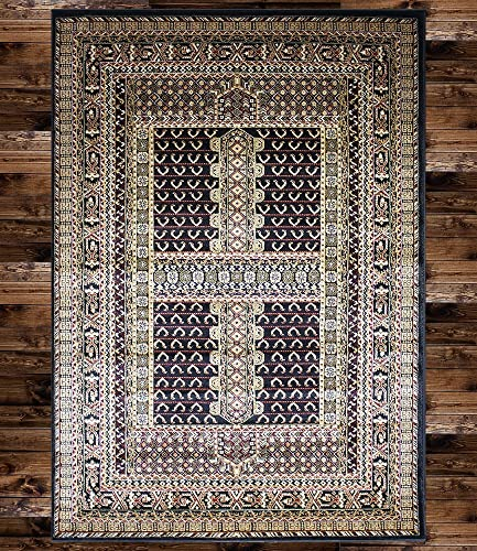 KILIM Boho Bohemian Black Bokara Vintage Style K601 Area Rug Clearance Soft and Durable Pile. Size Option