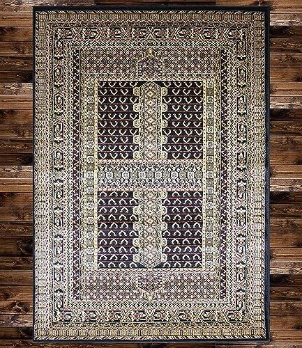 KILIM Boho Bohemian Black Bokara Vintage Style K601 Area Rug Clearance Soft and Durable Pile. Size Option , 7 .4 X 10 .6