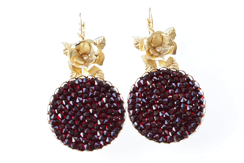 f3efa73ef Amazon.com: RED SWAROVSKI EARRINGS, Pomegranate Earrings, Dark Red Earrings,  Dangle Earrings, Garnet Earrings, For Wife,Rosh Hashanah Gift, Sexy Earring:  ...