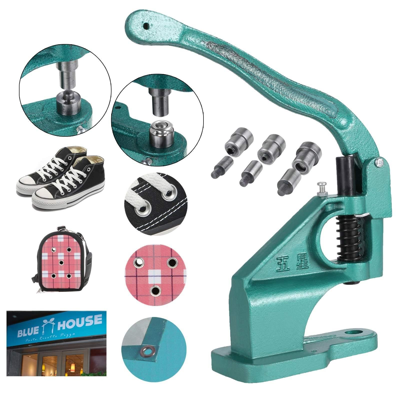 Meflying Industrial Use Hand Press Banner Grommet Machine 3 Die (#0#2#4) with 900 Grommets Eyelet Tool Grommet Tools Hole Punch Tool Kit (US Stock)