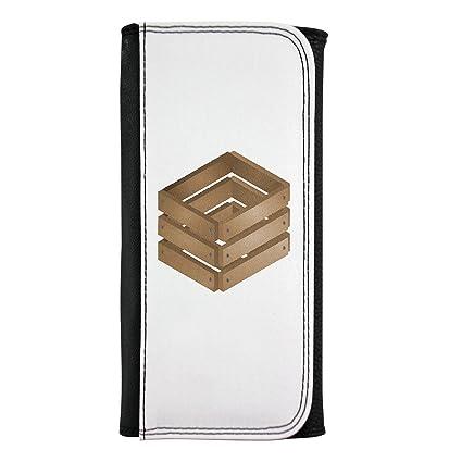 Piel sintética cartera con cajas de madera