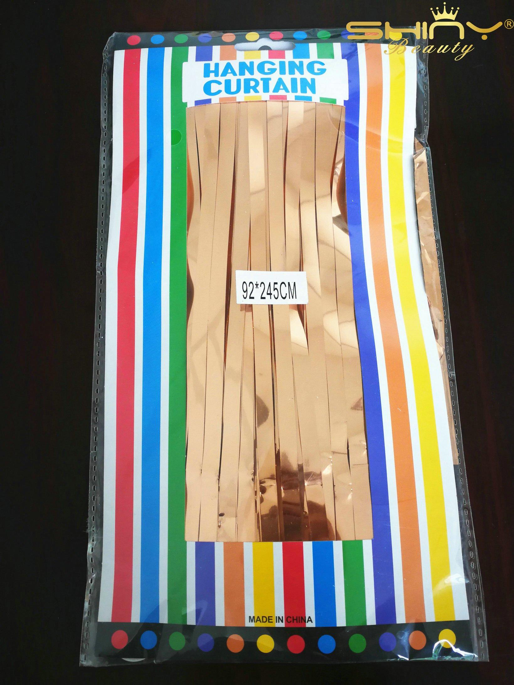 ShiDianYi Rose Gold 3FTX8FT-Foil Fringe-Curtain,Tinsel Door Window ...