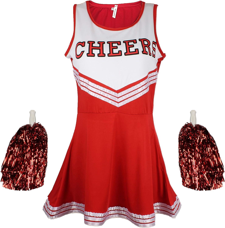 Cherry Traje Disfraz de Animadora Uniforme High School Musical Disfraz con Pompones 6Colores–5tamaños a Elegir