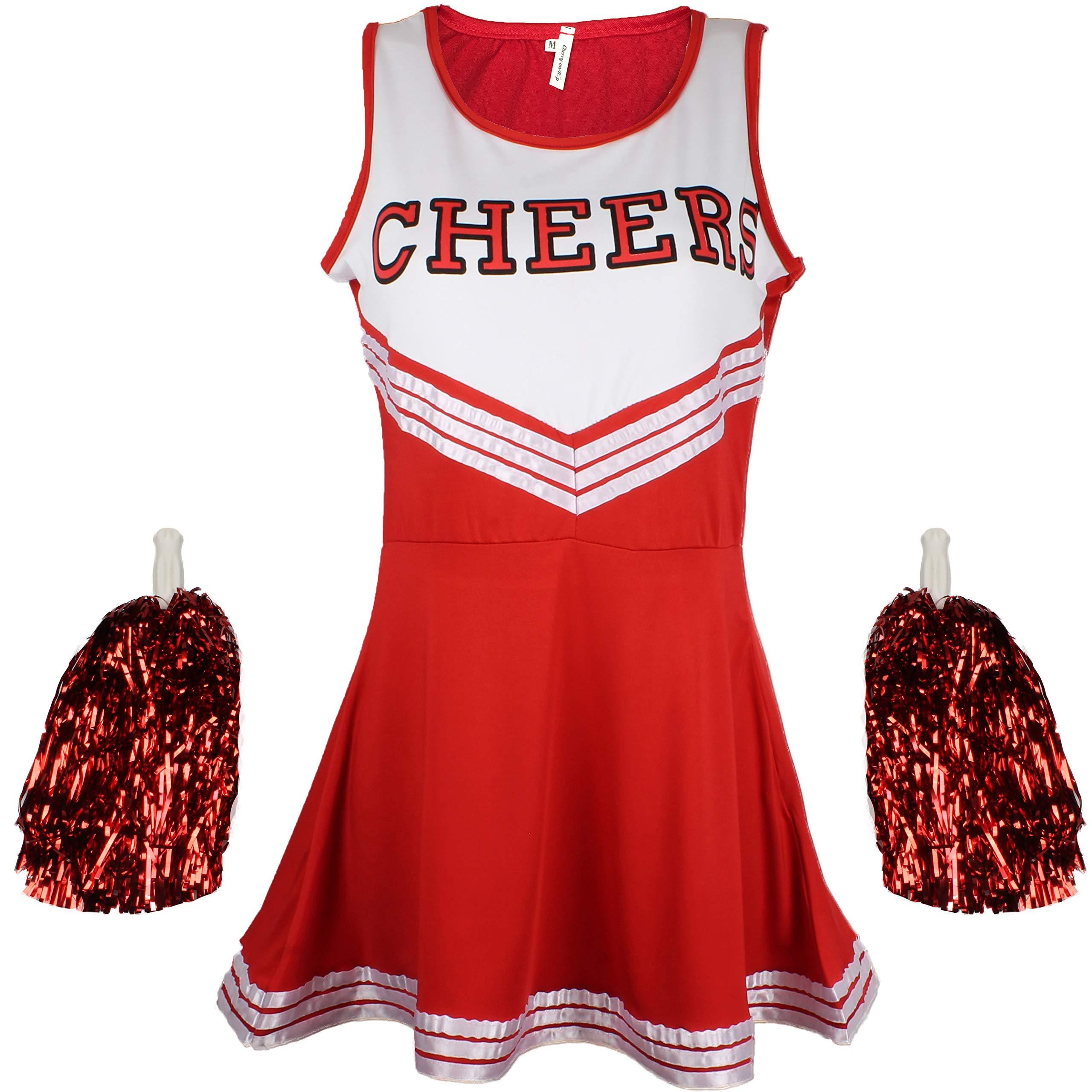 Cheerleader Fancy Dress Outfit Uniform High School Musical Costume with Pom Poms Red Cheerleader, Medium
