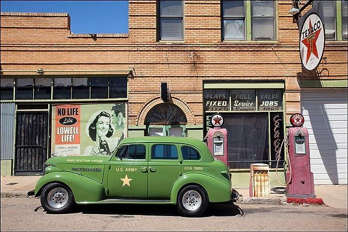 Amazon com: Classic green army car at Texaco gas station