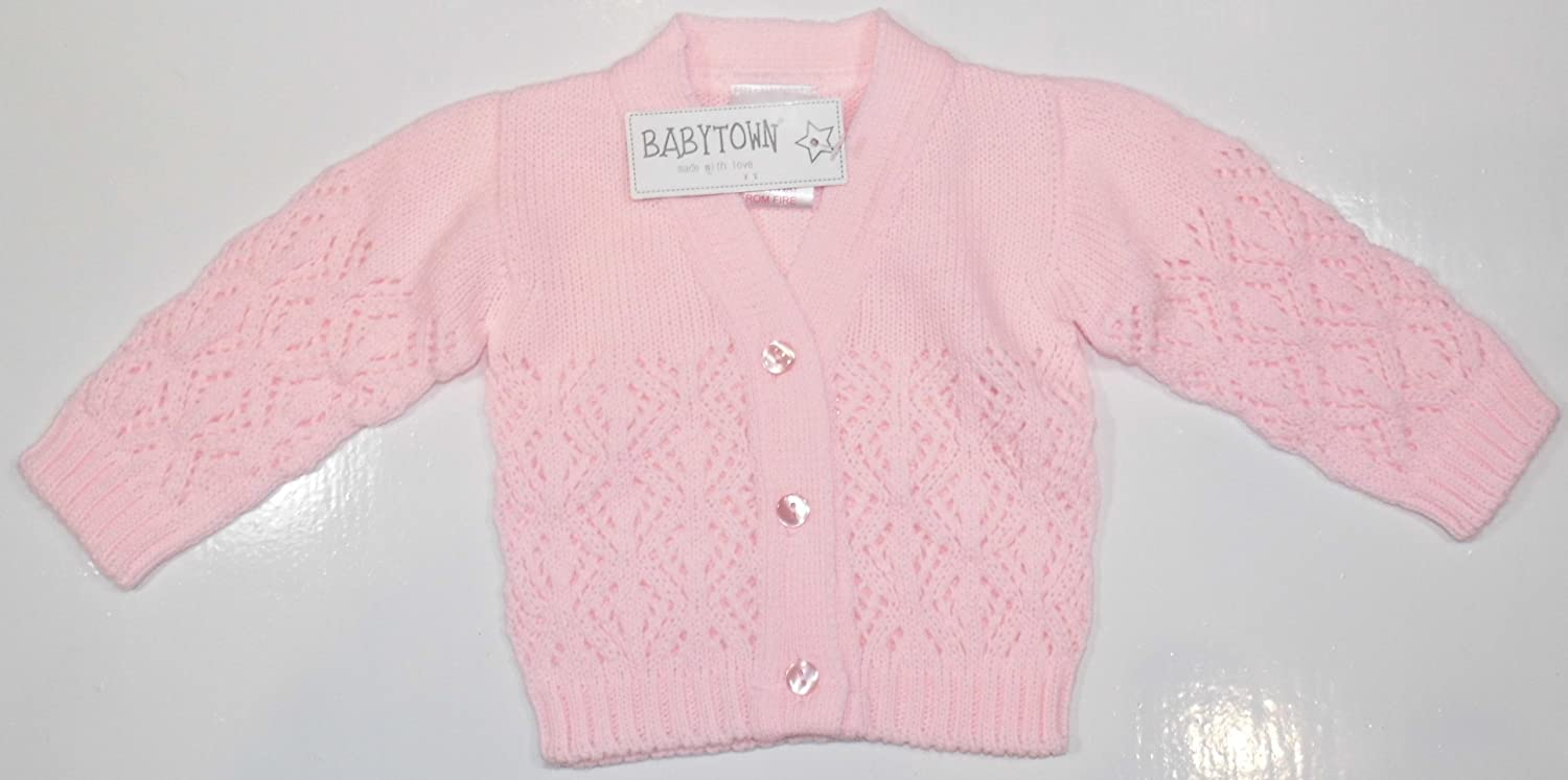 Baby Girls Fancy Knit Cardigan. New Born to 3-6 Months. (3-6 Months 18lb, Pink) Baby Town