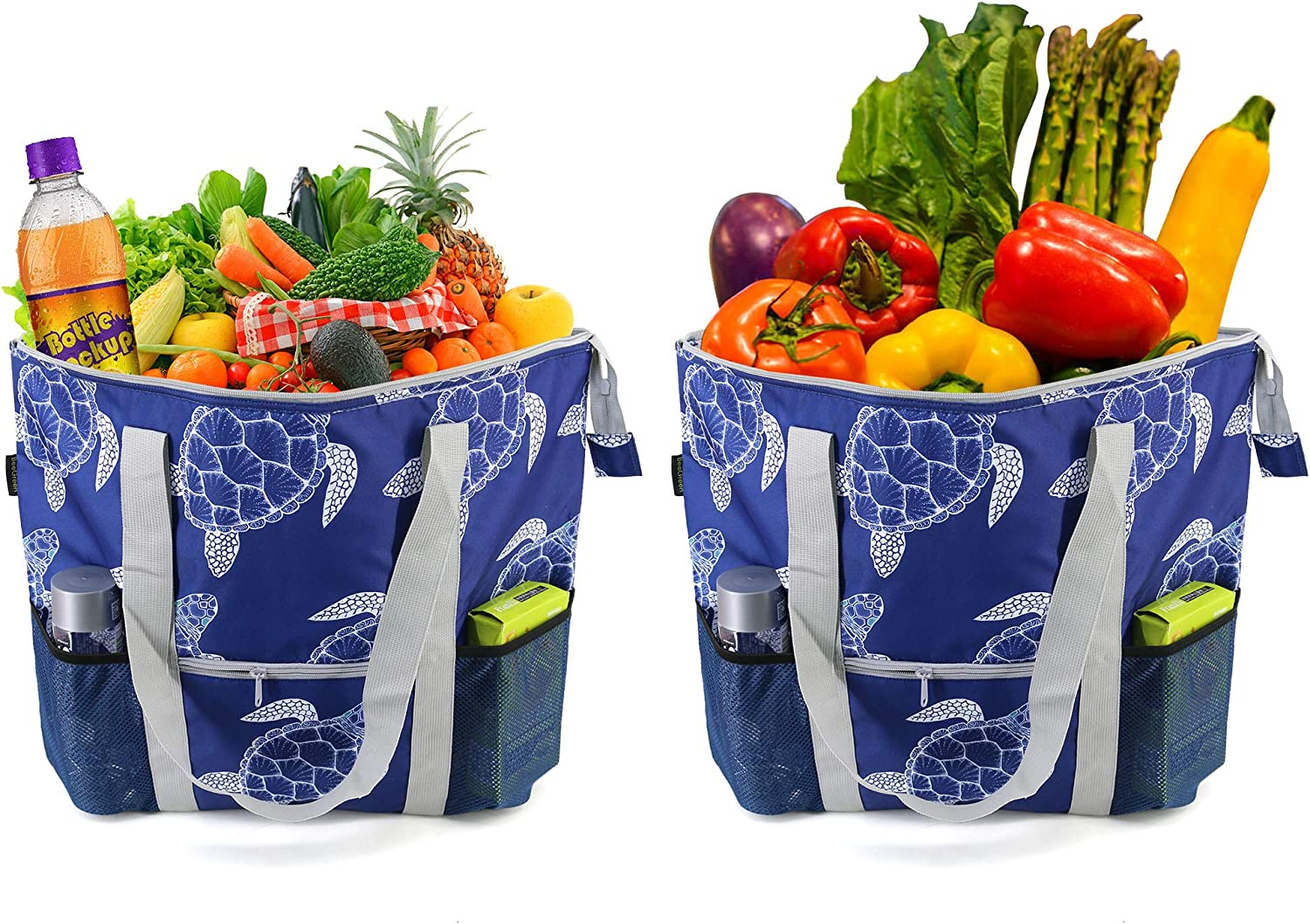 Navy Blue Cooler Bags for Shopping Extra Large Durable Insulated Zipper Grocery Bags for Hot Cold Frozen Food Transport Thermal Totes Set of 2 Cute Turtle Animal Printed