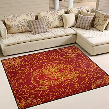 ALAZA Playful Asian Chinese Dragon Area Rug For Living Room Bedroom 5 U00273u0026quot;x4