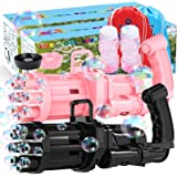 IDEE Gatling Bubble Machine 2021: 8 Blower Wands Automatic Bubble Guns with 2 Bubble Solution for Toddlers Kids&Dog- Makes