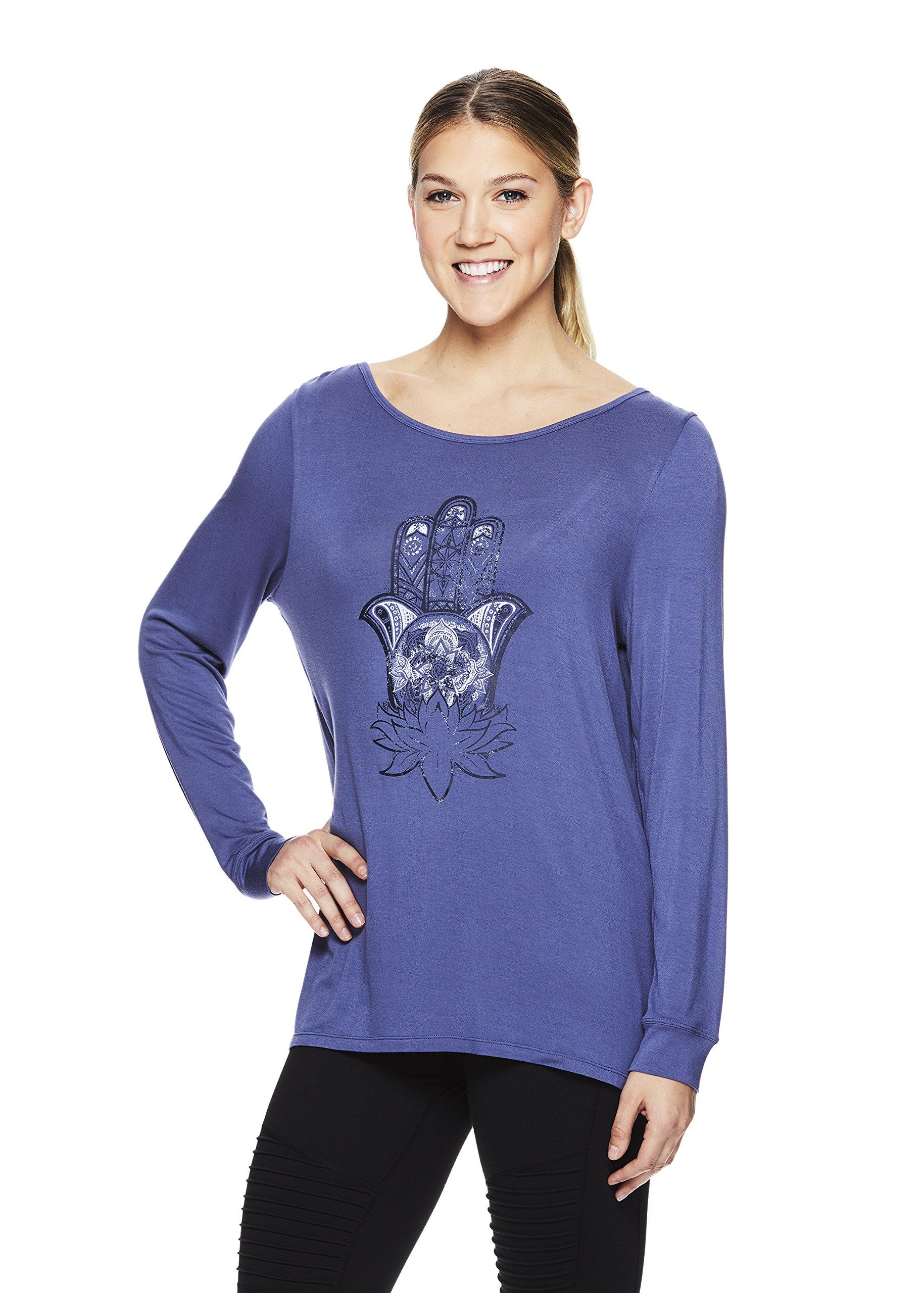 Gaiam Women's Long Sleeve Graphic Yoga T Shirt - Activewear Top w/Open Back - Hailey Blue Indigo, X-Large by Gaiam