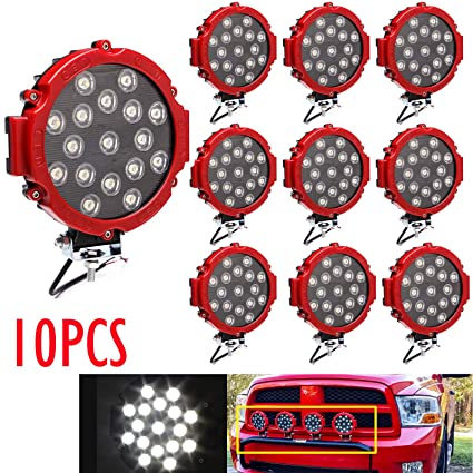 Led Offroad Lights 10pcs 7 Inch Round Led Light Bar Fog Driving Lamp Waterproof Ip68 51w Stainless Steel Bracket For Truck Jeep Trailer Boat Pickup