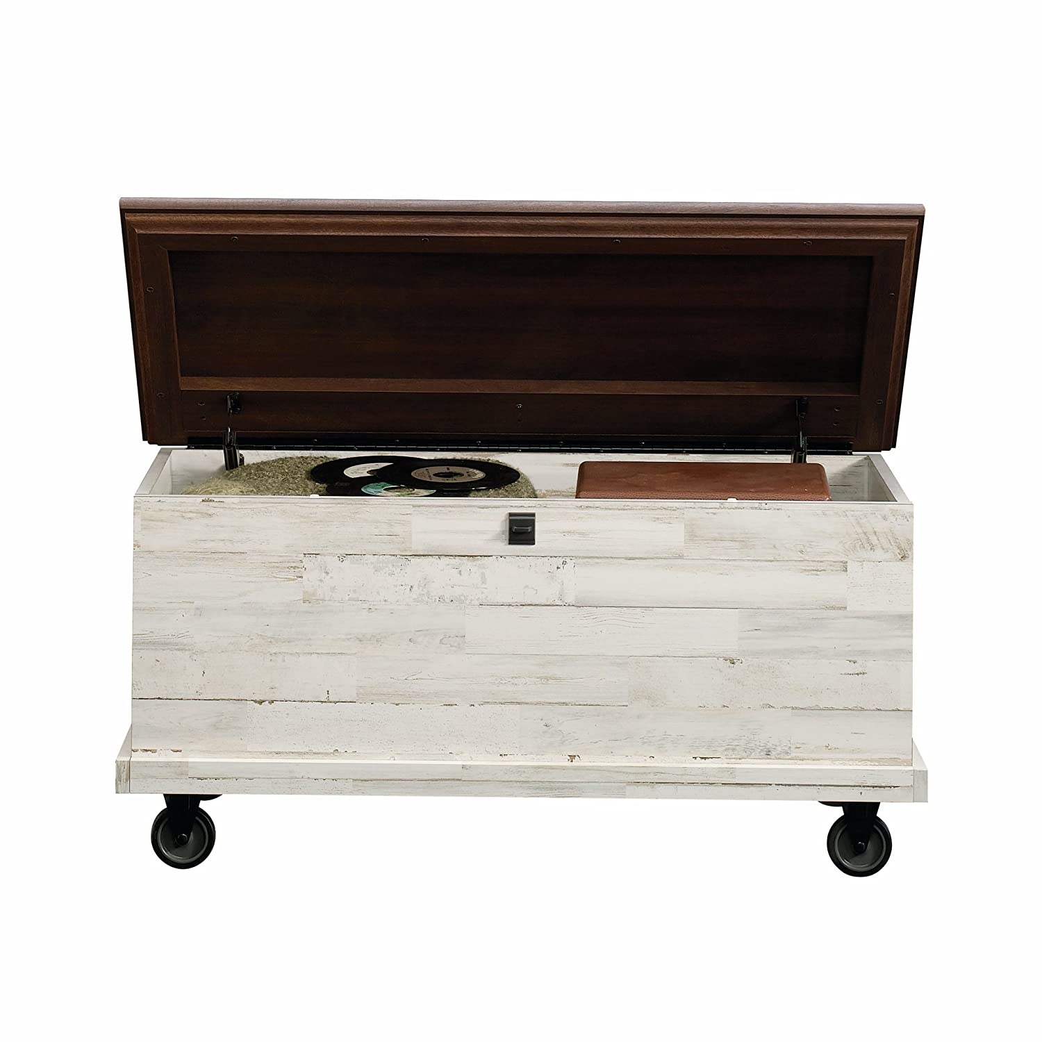 Amazon.com: Sauder 419590 Eden Rue Rolling Chest, White Plank: Kitchen U0026  Dining