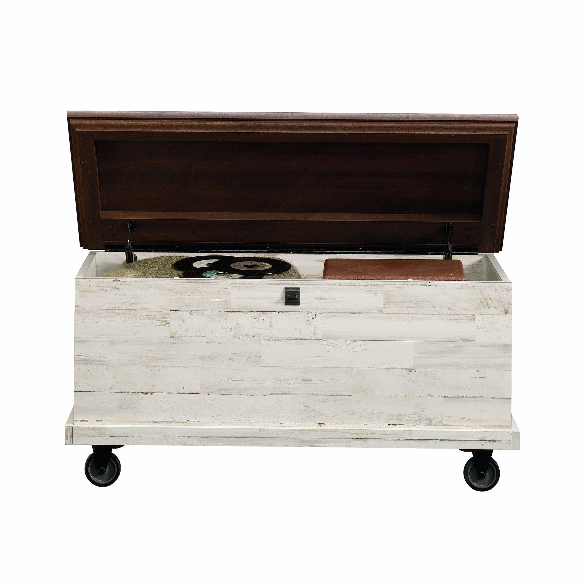 Sauder 419590 Eden Rue Rolling Chest, L: 37.17'' x W: 19.45'' x H: 18.50'', White Plank finish