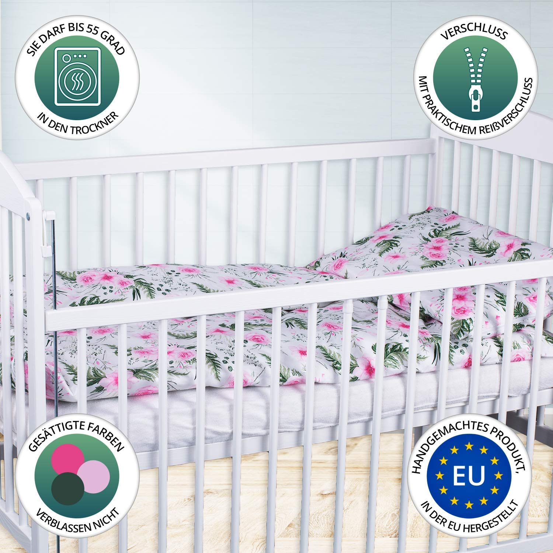 90 x 120 cm Babybettw/äsche kuschelig 2 teilig mit Kissenbezug 40x60 cm 100/% Baumwolle wei/ß-rosa mit Blumen Kinderbettw/äsche Bettw/äsche baby Set