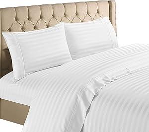 Hampton Home Collection 1200 Thread Count Luxurious Egyptian Cotton Stripe 4 Piece Sheet Set (Full, White)
