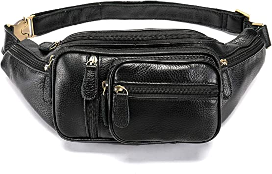 Black Genuine Leather FANNY PACK Waist Bag Travel Purse Hip Belt Carry On Pouch