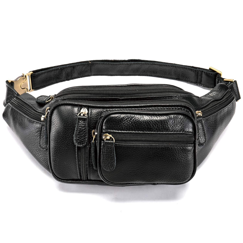 92c3ab780104 Genuine Leather Large Fanny Pack Waterproof Hip Belt Bag Waist Bag  Crossbody Sling Backpack Black