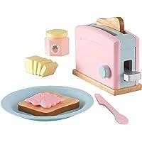 KidKraft 63374 Ensemble Grille-Pain enfant en bois, dînette enfant, jeu d'imitation incluant accessoires en plastique - coloris pastel