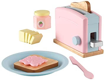 Kidkraft 63374 Pastel Toaster Wooden Pretend Toy Food Set Cookware And Accessories For Kids Play Kitchen