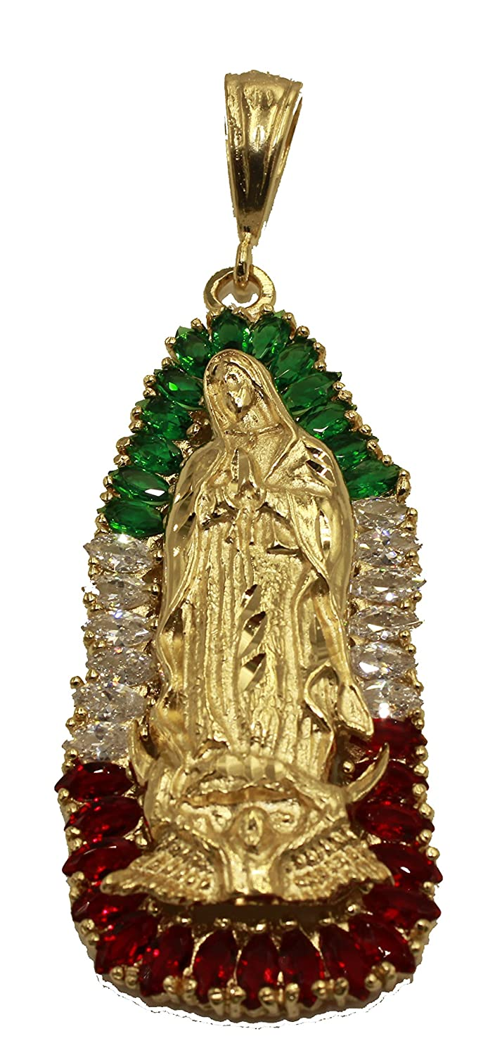2ca7a1484e9 Amazon.com: Virgen De Guadalupe Medalla - Our Lady of Guadalupe Mexico Flag  Medal 14k Gold Plated Pendant with 24 Inch Chain: Jewelry