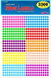 "Pack of 3300 1/4"" Round Color Coding Circle Dot Labels, 10 Bright Neon Colors, 8 1/2"" x 11"" Sheet…"