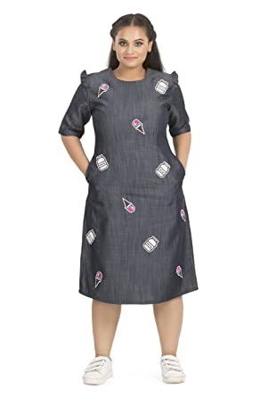 Afamado Pop Style Chambray Dress Plus Size Amazon Clothing