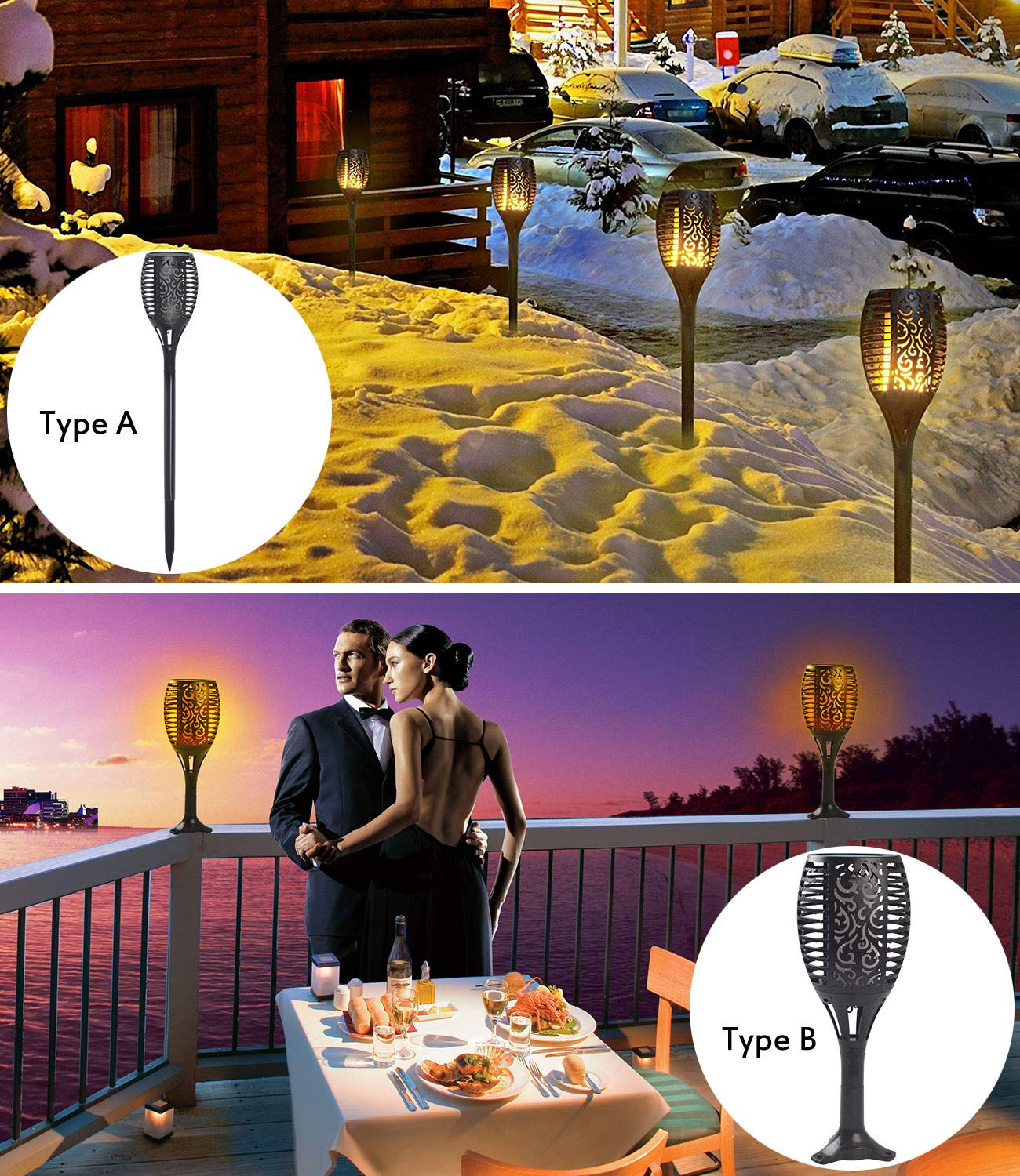 """Solar Torch Lights, Waterproof Flickering Flame Solar Torches Dancing Flames Landscape USB Charging Decoration Lighting Dusk to Dawn Outdoor Security Path Light for Garden Patio Yard Driveway 2 Pack - GORGEOUS DANCING FLAMES DESIGN: A safe alternative to the real """"flames"""" - LEDs in the light cast a safe, soft, mood-enhancing glow. Please note the actual height of the item is 28.4 inches. TWO CHARGING MODES:Different from general solar torch light, it could powred by Solar energy and USB Charging,you can place it anywhereonce powered, no matter in sunny day,in winter, rainy day or cloudy day. THREE EASY INSTALLATION: Pathway, Floor, Table available. No wiring required, simply install it anywhere you like and enjoy the warm torch light. - patio, outdoor-lights, outdoor-decor - 81FXK3q9GUL -"""