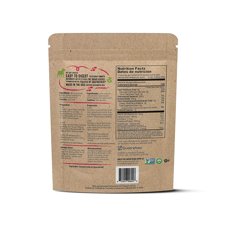 GREEN GOAT Whole Goat Milk Powder, Non GMO, Gluten Free, 12 ...