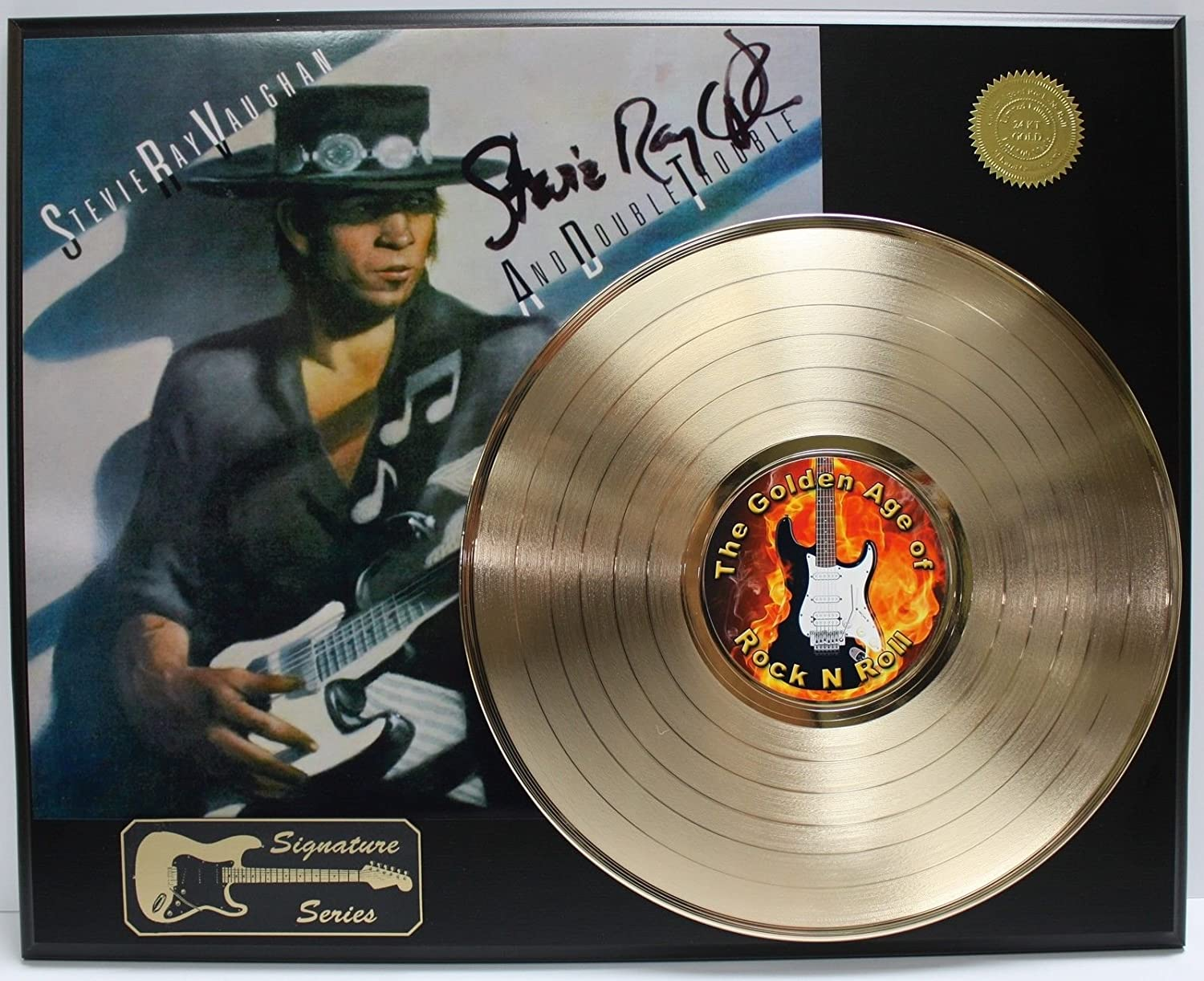 Stevie Ray Vaughan Gold Lp Ltd Edition Signature Record Display
