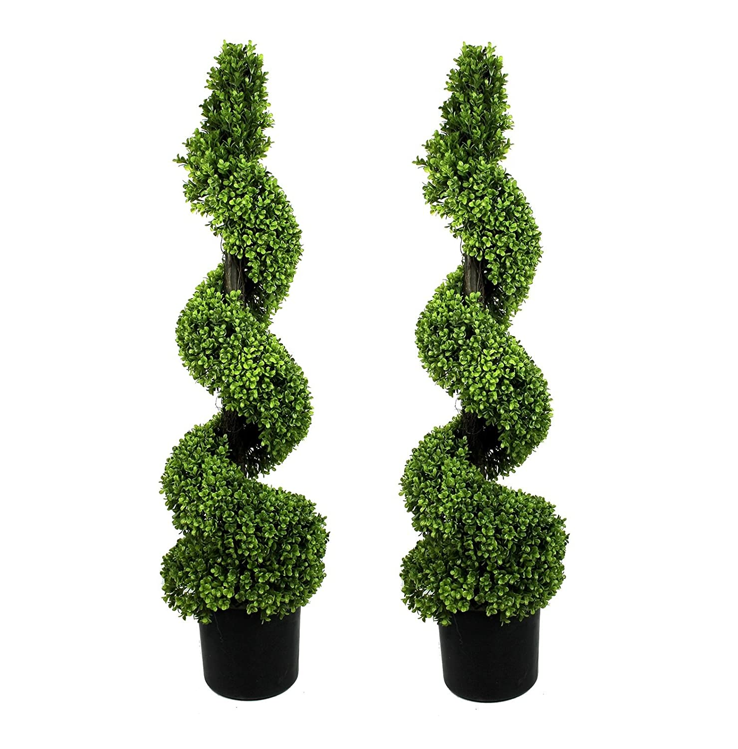Marvelous Artificial Topiary Trees Cheap Part - 6: Artificial Topiary Boxwood Spiral Trees (4ft/120cm), Pack Of 2:  Amazon.co.uk: Garden U0026 Outdoors