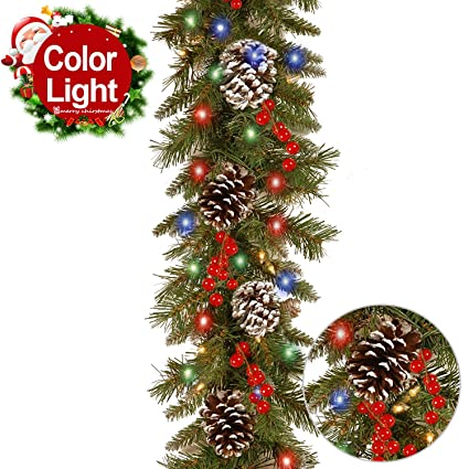 Christmas Garland with Lights Battery Operated Indoor/Outdoor 10 FT Garland  Season Decorations for Mantel - Amazon.com: Christmas Garland With Lights Battery Operated Indoor