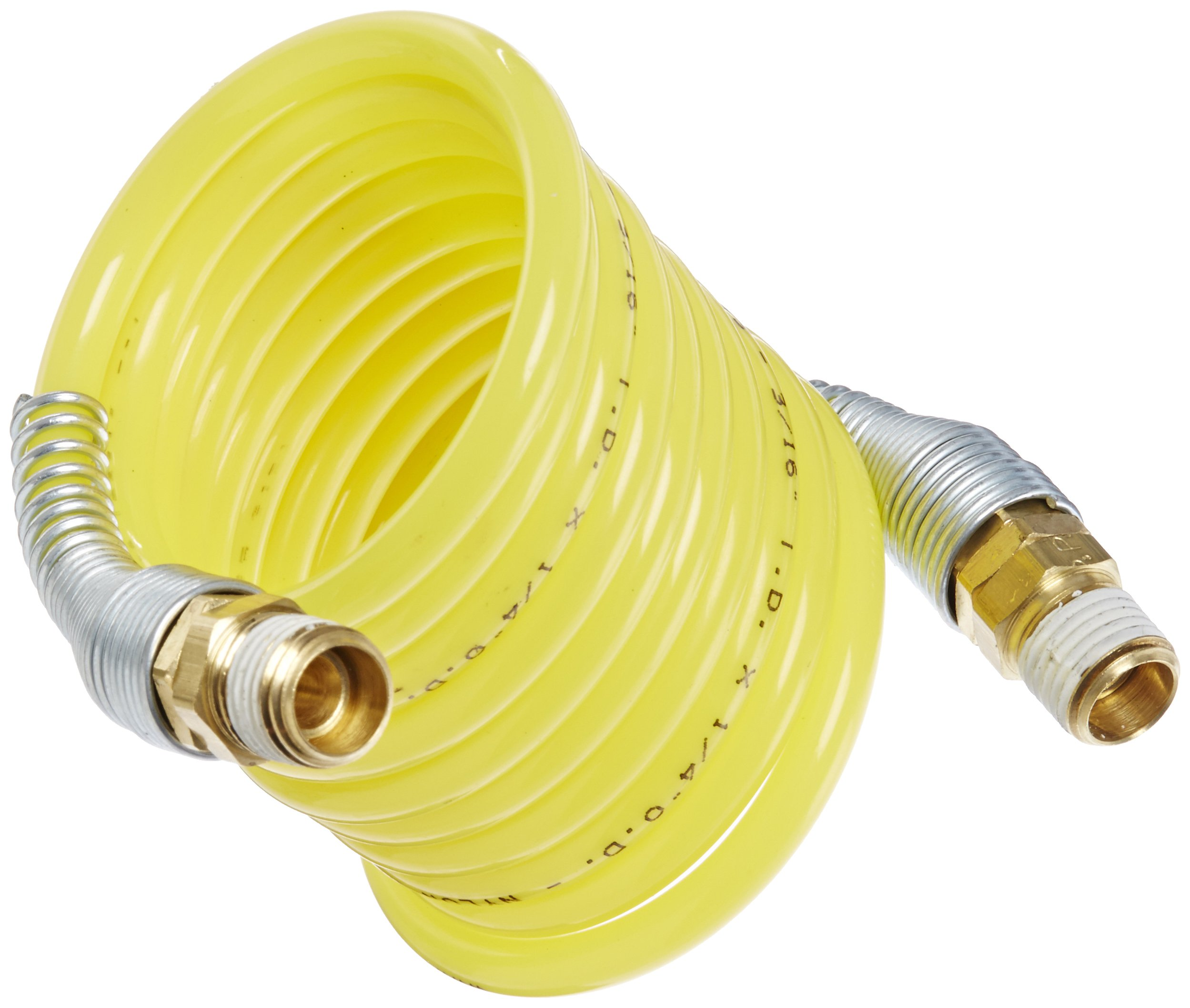 Legris Nylon 12 Self-Recoiling Hose Assembly with Brass Swivel Fittings, Yellow, 1/4 OD, 250 psi, 5 feet Working Length