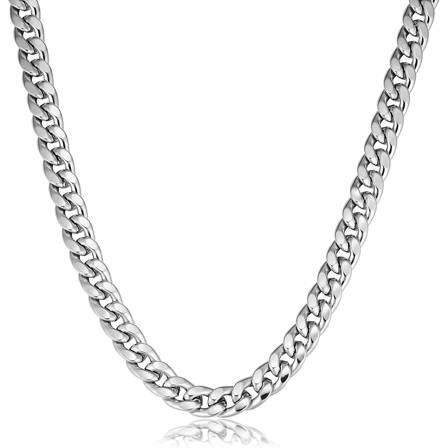 8 mm, 20 inch Kooljewelry Mens Sterling Silver Bold Hollow Curb Link Necklace