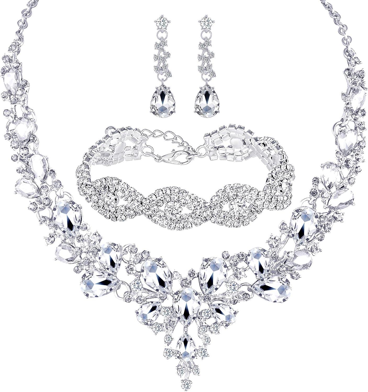 Jewelry Sets for Women,Rhinestone Crystal Necklace Link Bracelet Teardrop Dangle Earrings for Women,Party Mothers Day Prom Wedding Fashion Jewelry Gift Choker Necklace for Women