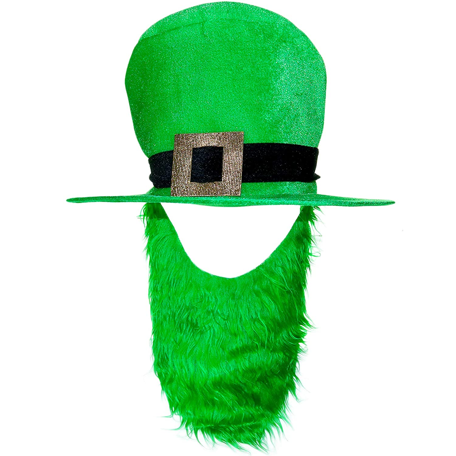 Amazon.com  Skeleteen Irish Hat and Beard - Green Leprechaun Top Hat and  Beard St Patrick s Day Costume Accessories  Toys   Games 9cada396eb9