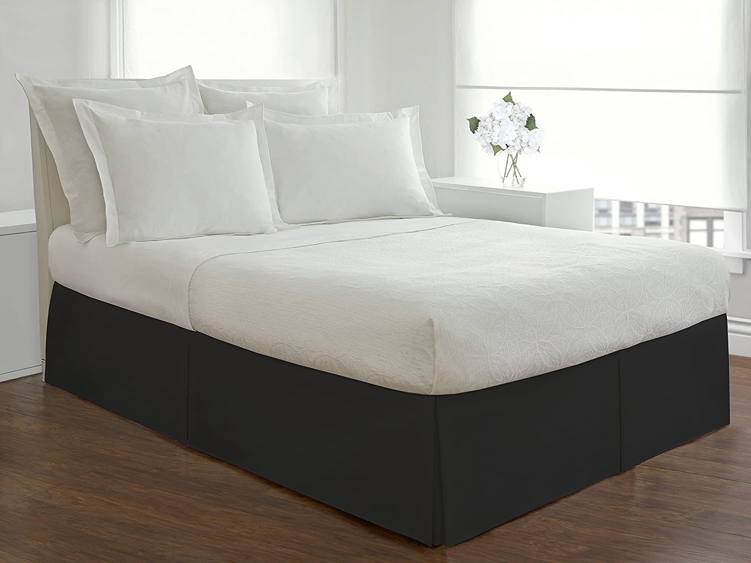 This is an easy fit elastic wrap around bed skirt/dust ruffle. Bed skirt is a one size fit for queen/king/ and cal king sizes. This dust ruffle provides a beautiful look all around your bed without having to lift your mattress (no platform).