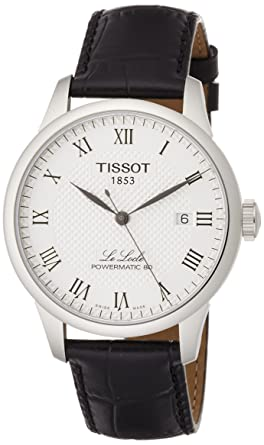 1a6af5718 Tissot Powermatic 80 Silver Dial Black Leather Strap Men's Watch  T0064071603300