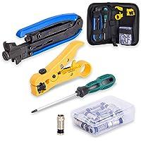 Fstop Labs Coax Cable Crimper Kit, Compression Tool Coax Cable Crimper Kit, Adjustable RG6 RG59 RG11 75-5 75-7 Coaxial…