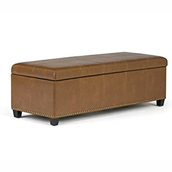Simpli Home Kingsley Rectangular Storage Ottoman Bench, Large, Burnt Umber  Tan