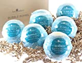 6 Blooming Jasmine Bubble Bath Bombs by Two Sisters Spa. 6-5oz Large 99% Natural Fizzies For Women, Teens and Kids. Moisturizes Dry Sensitive Skin. Releases Lush Color, Scent, and