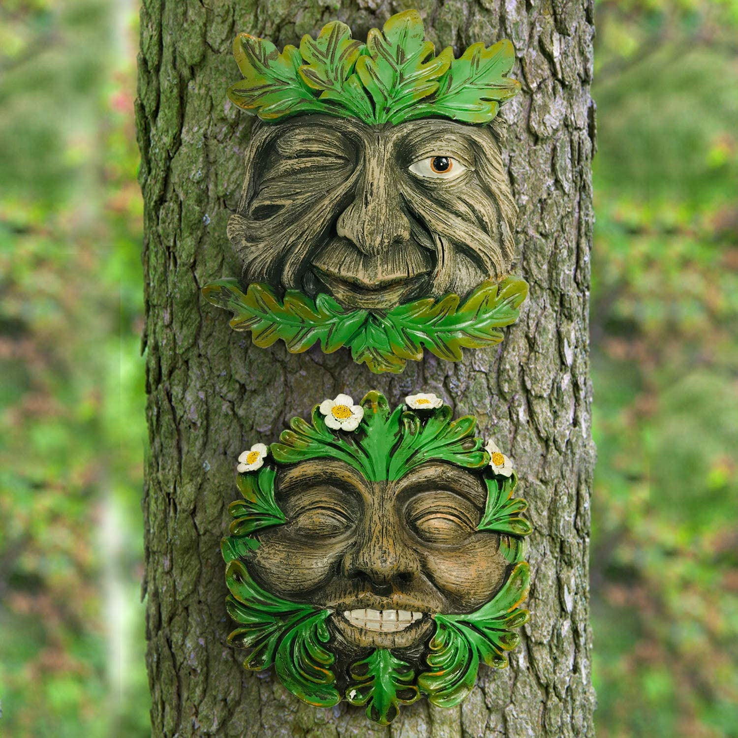 A Fun Happy Couples Tree Face, and Realistic Bark Design Add A Touch of Whimsy and Personality to Your Garden Tree Faces,Scuplture Garden Ar